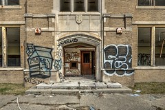 2% Milk (Brook-Ward) Tags: 2 two percent milk graffiti entrance detroit mi michigan bradley elementary school ue urban urbex exploration abandonment abandoned old decay travel holiday vacation