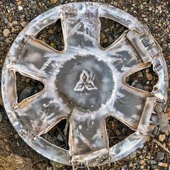 Flattened (Timothy Valentine) Tags: squaredcircle large 0119 detritus 2019 wheelcover eastbridgewater massachusetts unitedstates us