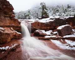 Sedona-5102 (Michael-Wilson) Tags: sedona arizona michaelwilson winter cold snow stream river creek waterfall redrocks tree trees rain fog mist water