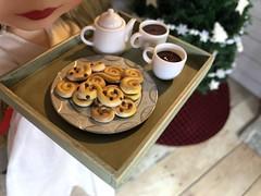 3. Saffron buns (Foxy Belle) Tags: doll santa saint lucia day lucias blythe playscale 16 cabin log rustic ooak food saffron buns fimo folk folksy peasant wooden scale dollhouse miniature