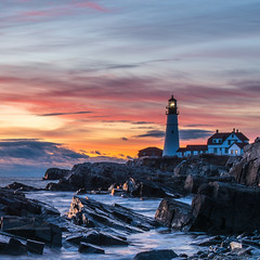 dawn at portland headlight (paul noble photography) Tags: maine mainephotographers morning mainecoast mysterious morninglight lighthouse portlandheadlight fortwilliamscapeelizabethmaine capeelizabethmaine rockycoast newengland nikon nikon2470mmf28 nikond810 ocean atlanticocean seascapes sunrise interestingness insanelight interesting images paulnobleimages oceancoastal paulnoblephotography freelancephotographer freelancephotographersinportlandmaine