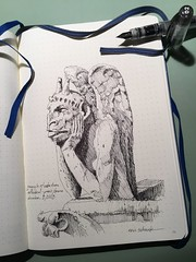 Gargoyle of Notre Dame Cathedral (schunky_monkey) Tags: journal fountainpen penandink ink pen drawing draw sketchbook sketching sketch illustration grotesque stone sculpture architecture art europe france paris cathedral notredame gargoyles gargoyle