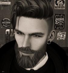 Wait... (FlashMe Photography) Tags: beard bento mesh avatar sl secondlife garage blackwhite bw portrait handsome man blackandwhite