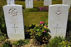 S.J. Beranek & A.J. Dunn, Royal Air Force, War Grave, 1943, 1943, Bayeux (PaulHP) Tags: ww2 world war 2 headstone grave france bayeux military cemetery british normandy at189 handley page hampden pilot officer sj stanley joseph beranek service number j7321 19th june 1942 408 sqdn squadron rcaf royal canadian air force jerome frank marie antoinette saskatoon saskatchewan canada sergeant wireless operator op gunner aj dunn 1312809 1st may 1943 rafvr raf volunteer reserve john annie bessie matilda sandleheath hampshire cwgc battle
