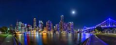 Brisbane Bathed in Blue (mudge.stephen) Tags: brisbane kangaroopoint panorama moon storybridge