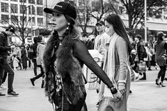 I Cannot In Good Conscience Look At That. Those Poor Fake Animals. (burnt dirt) Tags: asian japan tokyo shibuya station streetphotography documentary candid portrait fujifilm xt1 bw blackandwhite laugh smile cute sexy latina young girl woman japanese korean thai dress skirt shorts jeans jacket leather pants boots heels stilettos bra stockings tights yogapants leggings couple lovers friends longhair shorthair ponytail cellphone glasses sunglasses blonde brunette redhead tattoo model train bus busstation metro city town downtown sidewalk pretty beautiful selfie fashion pregnant sweater people person costume cosplay boobs