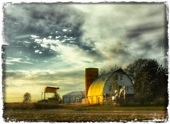 Day is done.... (Sherrianne100) Tags: country rural silo fence sunset oldbarn barn farm ozarks missouri