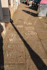 Street Food (Richard Laidler) Tags: graffiti pavement street text writing advertizing pub food sunday lunch curry dogfriendly menu