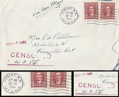 Nova Scotia Military Postal History - 14 September 1941 - Censored Air Mail / DEBERT, N.S. / MILITARY POST OFFICE 603 (machine cancel / postmark) to Hamilton, Ontario (Treasures from the Past) Tags: circulardatestamp postalwayoffice postmaster postoffice novascotia postalhistory ns county splitring brokencircle splitcircle postmark cancel cancellation marking son mail letter stamp canada novascotiapostalhistory canadapost debert mpo603 airmail censored