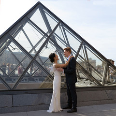 The bride happiness is palpable (pivapao's citylife flavors) Tags: paris france girl louvre wedding architecture