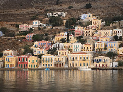 Looking across the harbour (VillaRhapsody) Tags: symi greece greek island harbour houses hill reflections colours colourful cyunanimous challengeyouwinner