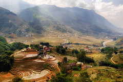 Sapa, Vietnam (Tommy K Le) Tags: sapa vietnam rice terrace mountain stream clouds valley lights colorful landscape trees surreal sunlight