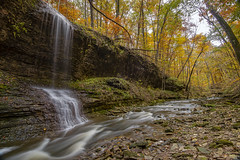 Hidden ravine and falls. (Bernie Kasper (4 million views)) Tags: art berniekasper cliftyfallsstatepark cliftyfalls color creek cascade d750 evening family fall hiking indiana jeffersoncounty light landscape leaf leaves love longexposure madisonindiana madisonindianacliftyfallsstatepark nature nikon naturephotography new outdoors outdoor old outside ohioriver photography park photos raw statepark travel trail tree trees unitedstates usa vacation vivid water waterfalls waterfall