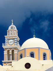 St. John the Baptist Cathedral (djcotto1971) Tags: santorini thera greece island thira aegean sea cathedral catholic church christianity nikon nikkor d5500 blue sky tower watch dome windows architecture building