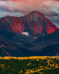 Capitol Peak on Fire (Matt Payne Photography) Tags: red capitolpeak colorado autumn sunset fire aspentrees mountain elkmountains fallcolors fallfoliage 14er clouds cabondalecolorado aspencolorado fineart