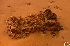 Davy Jones' Taxi (frisiabonn) Tags: uk england mersey river merseyside birkenhead liverpool car wreck sunken mud sand beach water sea harbour port davyjones destroyed old marine