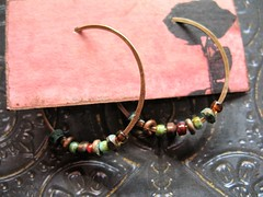 hand forged recycled antiqued red brass hoops  wbead mix 1 (msficklemedia) Tags: handforged artisanjewelry handcrafted earrings recycledmetal stone beads sterling silver missficklemedia