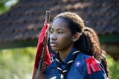 Girl scout portrait (guicaselani) Tags: vermelho girl woman scout scouts escoteiros escoteirosdobrasil portrait backlight sunlight campo escola aventura escoteira