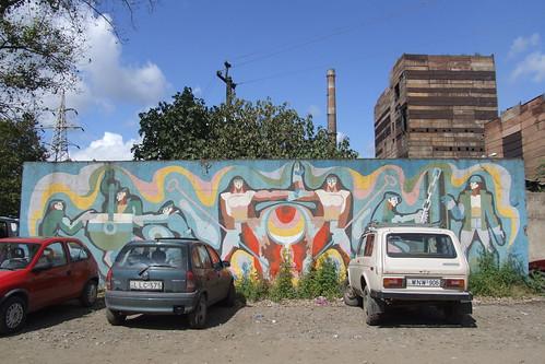 Mosaic on the fence of Zestafoni Ferroalloy Plant, 10.09.2013.
