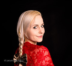 Ahh!  There you are (trethurffe2001) Tags: blondehair looking plaited ponytail portrait reddress shoulder