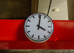 Analog clock at train station (phuong.sg@gmail.com) Tags: alarm antique architecture background black business cancel city clock concept day delay dial face hour image late metal minute modern number object old photo picture public railway retro ride round schedule sign simple station stock time timer timetable train transportation travel trip vintage wall watch white