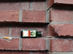 Außenregal mit Deko (maramillo) Tags: maramillo bottle trash bricks wall friendlychallenges