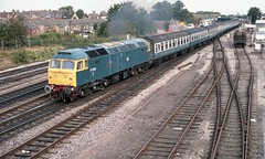 A BRUSH WITH OXFORD (Malvern Firebrand) Tags: brush type4 47609 fire fly departs oxford 13986 named firefly 31885 denamed 311289 princewilliam 47xxx class47 oxfordshire 47798 loco vehicles coaches passenger bluelivery 1980s trackwork d1656 47072 trains railways br york museum outdoors urban city