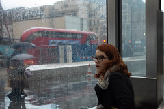 Sheltering from the downpour (Neil Schofield-Hughes) Tags: street london rail city urban x100s