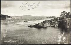 Postkort fra Agder (Avtrykket) Tags: båt fyr fyrtårn motorbåt postkort sjø skjærgård svaberg arendal austagder norway nor