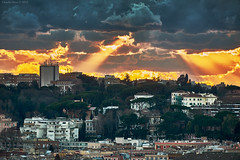Winter Sunset in Rome (Claudio_R_1973) Tags: cloud sunset landscape cityscape urban city rome italy italia roma cloudy winter beam ray light vivid contrast