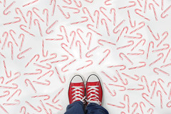 Candyland (YetAnotherLisa) Tags: converse chucks sneakers red shoes candy cane candycane atmyfeet lookingdown