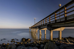A Small Pier on the Bay (milton sun) Tags: pier oysterpoint southsanfrancisco california bridge longexposure seascape bay ngc bayarea wave ocean shore seaside coast landscape outdoor clouds sky water rock sea sand beach