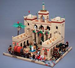 Mophet town hall - finished (adde51) Tags: adde51 lego moc kaliphlin mophet townhall camel camels blackoil caravan palmtree pig dome road street foitsop swedishlegomafia