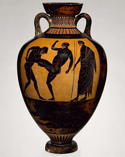 Panathenaic Prize Amphora. ca. 500 B.C Greek Attic. black figure terracotta. Metropolitan Museum of Art. #legdrag . . . I've been playing a lot of Assassin's Creed: Odyssey lately. If there is one technique I would choose to study for a bit right now, it