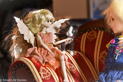 The fairy answers-Flickr.jpg (small_life_stories) Tags: 3dstorytelling dollphotography photographicnovel inthepictures toyphotography toyadventure photonovel miniatureadventure dolladventure fairy pets miniaturephotography miniature toy photostory cats graphicnovel