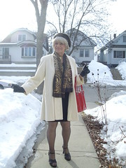Back To The Reality Of Wisconsin In Winter (Laurette Victoria) Tags: winter coat scarf heels snow wisconsin woman laurette purse hat gloves blonde
