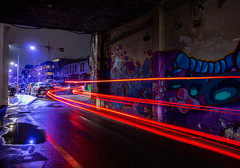 Night Treasure (mathieunigay) Tags: night flow moon nuit grenoble france street streetart art paint red purple pink car road canon canonphotography 70d sigma grue sky shot photography lights long exposure trail river light trails flowing drive traffic