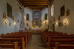 San Miguel Chapel (ca 1610) (Mike Schaffner) Tags: altar canontse24mmf35lii chapel church iglesia panorama pews photostitched sanmiguel tiltshift