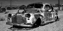 024693764011-106-End of the World Gold Point Nevada-4-Black and White (Jim There's things half in shadow and in light) Tags: 2018 america goldpoint milkyway mojavedesert nevada september southwest usa building carforestofthelastchurch ghosttown goldfield lightpainting rusty