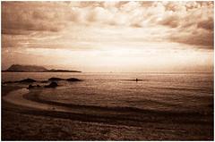 ancient sands (Claudio Taras) Tags: claudio contrasto controluce canona1 film filmisnotdead sardegna shadow santeodoro sabbia mare roccia acqua grain taras toned sepia 35mmfilm 24mmfd fd explore