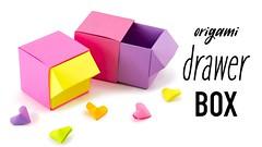Origami Drawer Box Tutorial - DIY Organiser - Paper Kawaii (paperkawaii) Tags: origami instructions paperkawaii papercraft diy how video youtube tutorial