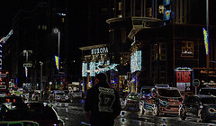 Belfast looks better with glowing edges (conall..) Tags: glowing edges glowingedges belfast greatvictoriastreet europa europahotel nikonafsnikkorf18glens50mm prime lens primelens manipulated manipulatedimage photoshop elements 15 messing abstract weird sliderssunday drake 17 figure cars street wet streetscene