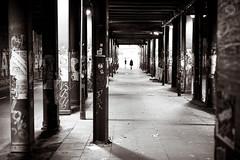 End of the Tunnel (dlerps) Tags: amount altona beams bridge city columns daniellerps dirty fullframe lerps sony sonyalpha sonyalpha99ii sonyalphaa99ii urban lerpsphotography blackwhite monochrome bw carlzeiss streetphotography tunnel colunm people vantagepoint planart1450 carlzeissplanar50mmf14ssm graffiti juliusleberstrasse