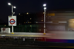 Putney Bridge Station (London Less Travelled) Tags: uk unitedkingdom britain england london hammersmithfulham river thames sunset dusk evening water sky putneybridge underground tube tfl station rail railway train platform publictransport