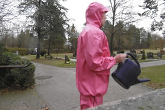 pink PVC raingear (lulax40) Tags: farmerrain rubber fetish rubberboots pvc raingear hunter