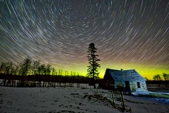 Cabin December Comet trails edit (John Andersen (JPAndersen images)) Tags: alberta cabin abandoned night stars aurora tree farm nightsky