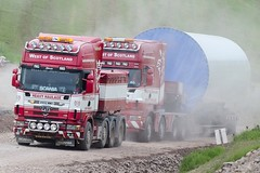 West Of Scotland Heavy Haulage AV02 WWX Assisting N600 GRF (Scottish Photography Productions | David Pollock) Tags: west of scotland heavy haulage av02 wwx n600 grf scania 8x4 r580 164g gamesa base tower renewables pulling truck tow