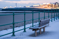 """Sitting on the dock of the bay"" (tonguedevil) Tags: landscape outdoor outside view coast coastal winter sea promenade seat bench railings snow sand water bay colour light shade sunlight sunrise seaburn sunderland"