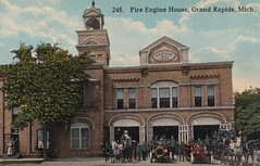 """SW Grand Rapids MI c.1908 FIREMEN AND FIRE DEPARTMENT EQUIPMENT AT FIREHOUSE No. 3 523 Front NW MOTORIZED and Horse Drawn Fire Engines and Hose Wagons built in 18871 (UpNorth Memories - Donald (Don) Harrison) Tags: vintage antique postcard rppc """"don harrison"""" """"upnorth memories"""" upnorth memories upnorthmemories michigan history heritage travel tourism restaurants cafes motels hotels """"tourist stops"""" """"travel trailer parks"""" cottages cabins """"roadside"""" """"natural wonders"""" attractions usa puremichigan """" """"car ferry"""" railroad ferry excursion boats ships bridge logging lumber michpics uscg uslss"""