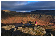 First light over Easedale Tarn, The Lake District (dandraw) Tags: thelakes thelakedistrict cumbria grasmere easedale easedaletarn sunrise sunlight shadows morninglight goldenhour outdoors adventure landscape fuji fujifilm xt3 winter hiking